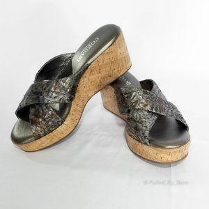 CORDANI • Metallic Pewter & Bronze Cork Wedges